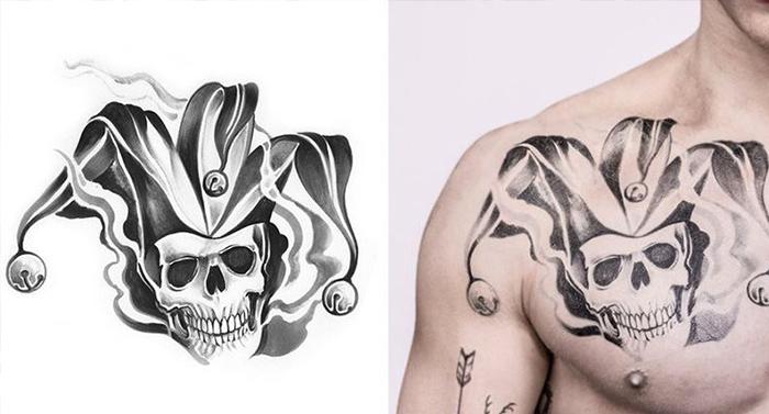 joker tatuaje pecho payaso