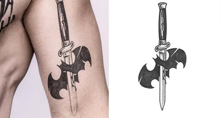tatuaje joker batman murcielago muerto