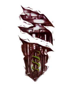 tatuaje temporal biomecanico circuitos feel tattoo