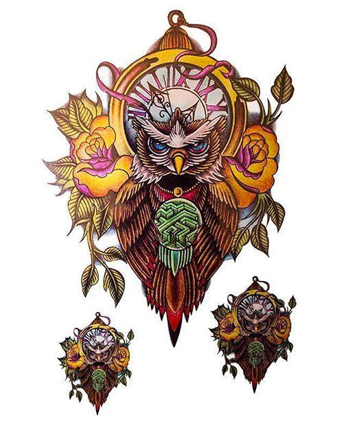 tatuaje temporal buho feel tattoo