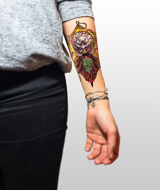 tatuaje temporal buho modelo feel tattoo