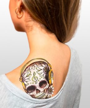 tatuaje temporal calaveras dj modelo feel tattoo