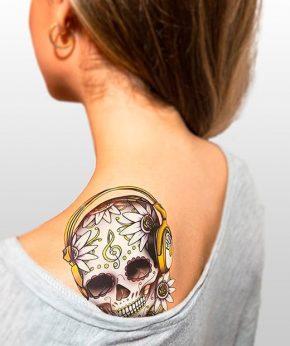 tatuaje temporal calaveras dj modelo feel tattoo