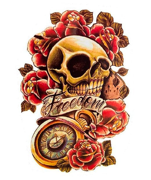 tatuaje temporal calavera freedom feel tattoo