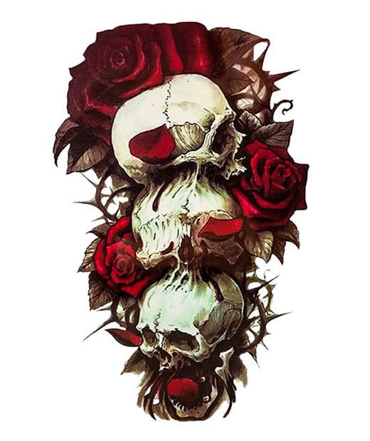 tatuaje temporal calaveras rosas feel tattoo