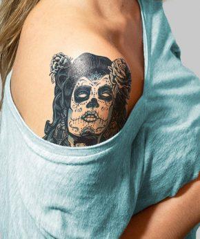 tatuaje temporal catrina mexicana modelo feel tattoo
