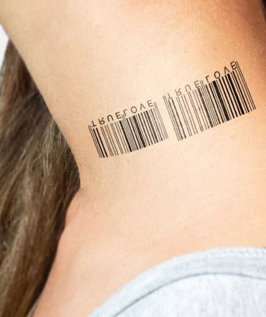 tatuaje temporal codigo de barras modelo feel tattoo