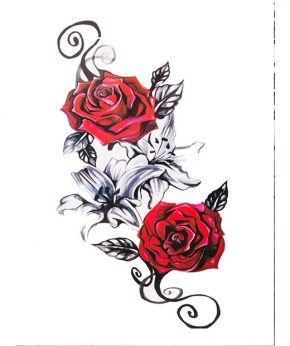 tatuaje temporal dos rosas feel tattoo