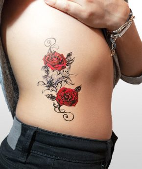 tatuaje temporal dos rosas modelo feel tattoo