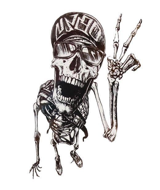 tatuaje temporal esqueleto feliz feel tattoo