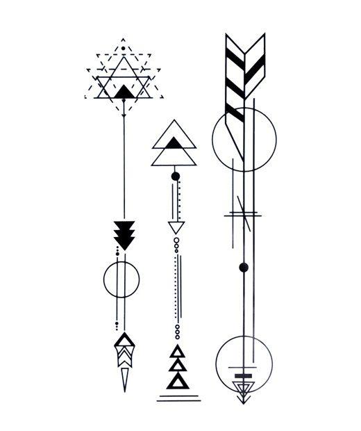 Tatuaje Temporal Flechas Geométricas Feel Tattoo