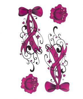 tatuaje temporal lazos rosas feel tattoo