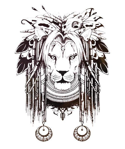 tatuaje temporal leon amerindio feel tattoo