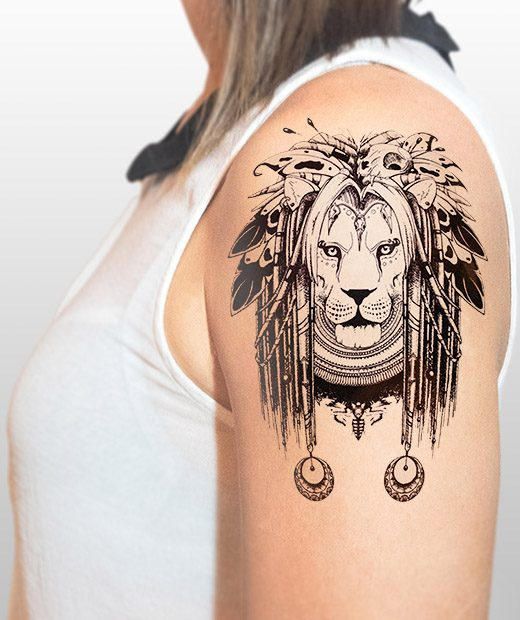 tatuaje temporal leon amerindio modelo feel tattoo