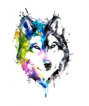 tatuaje temporal lobo acuarela feel tattoo