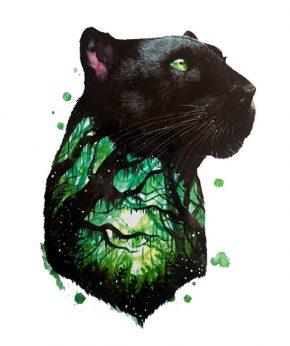 tatuaje temporal pantera bosque feel tattoo