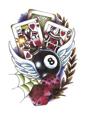 tatuaje temporal pin up casino feel tattoo