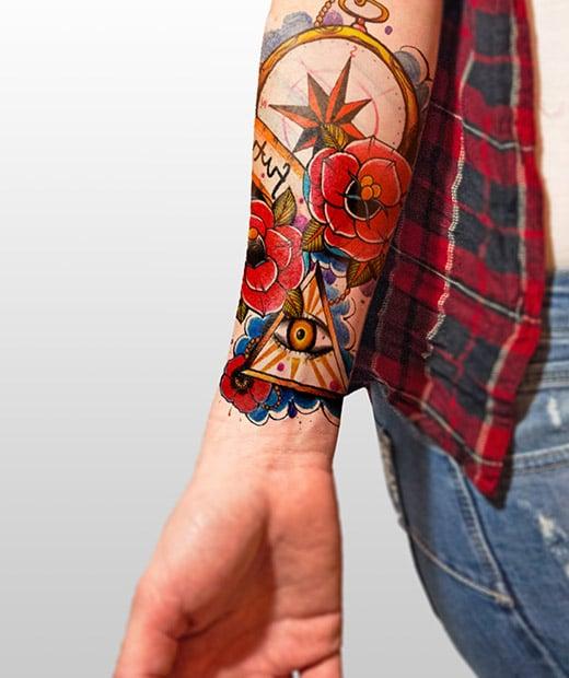 tatuaje temporal rosas modelo feel tattoo
