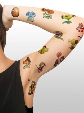 tatuaje temporal plants vs zombies modelo feel tattoo