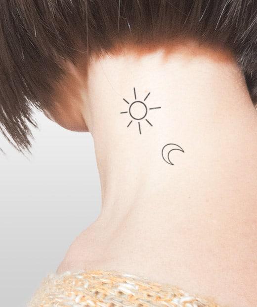 tatuaje temporal sol luna modelo feel tattoo