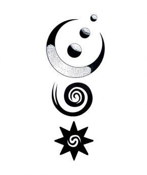 tatuaje temporal spiral moon feel tattoo