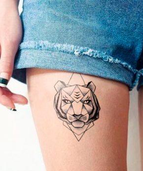tatuaje temporal tigre geométrico modelo feel tattoo