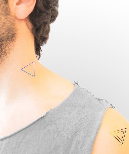 tatuaje temporal triangulos electro modelo feel tattoo