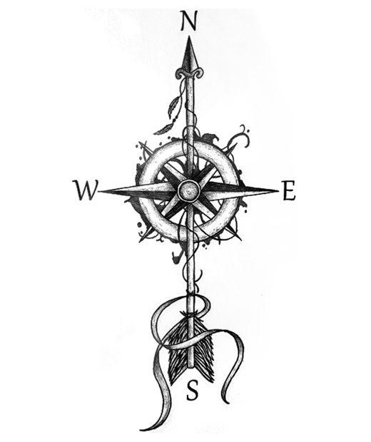 tatuaje temporal brujula cardinal