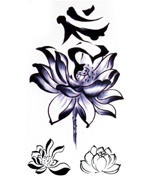 tatuaje temporal flor loto