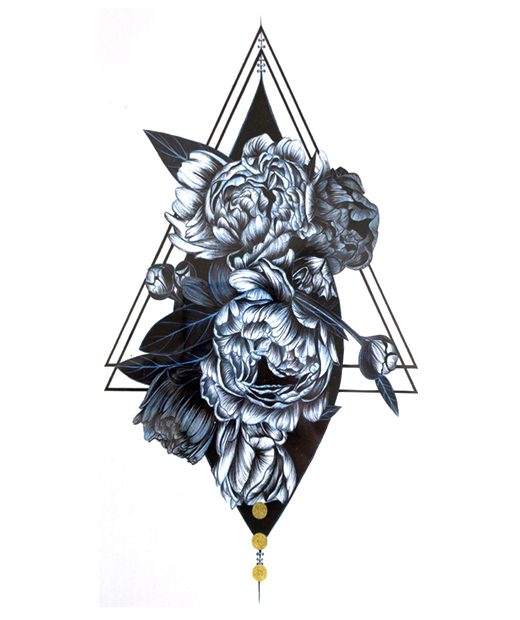 tatuaje temporal triangulo rosal